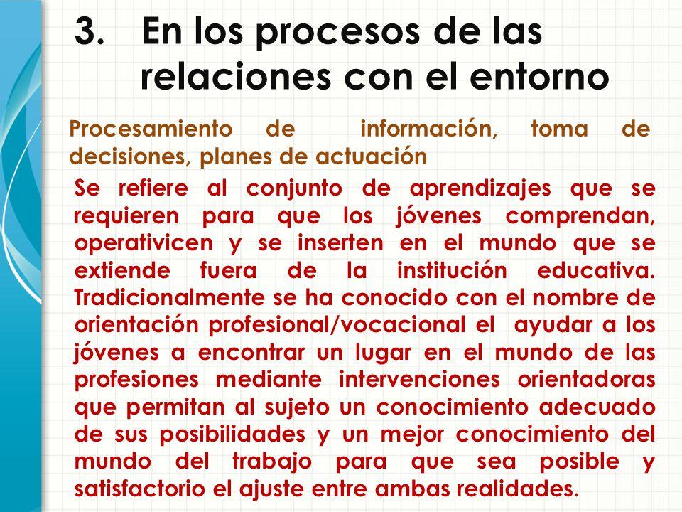 3. En los procesos de las relaciones con el entorno