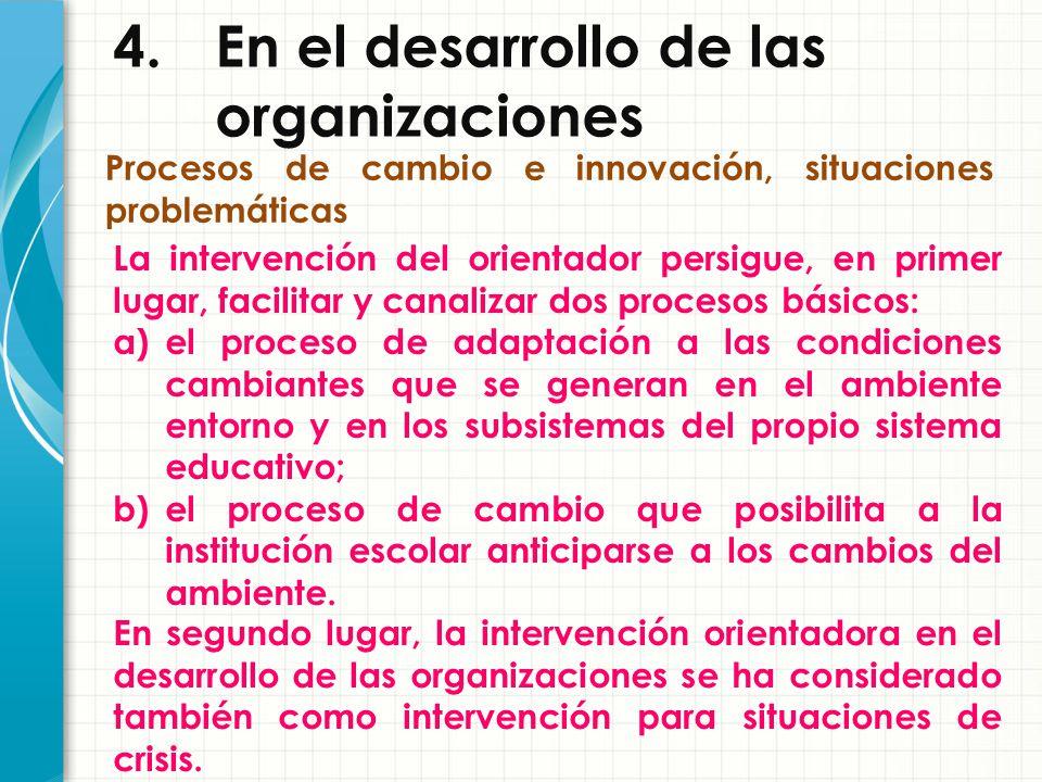 4. En el desarrollo de las organizaciones