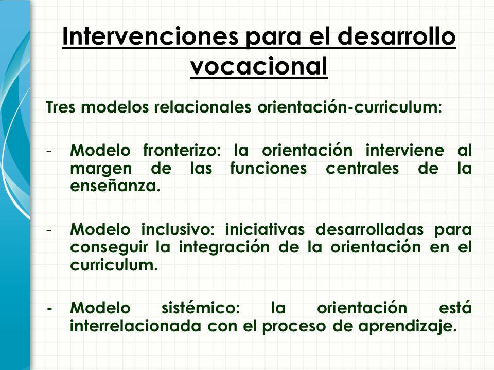 Intervenciones para el desarrollo vocacional