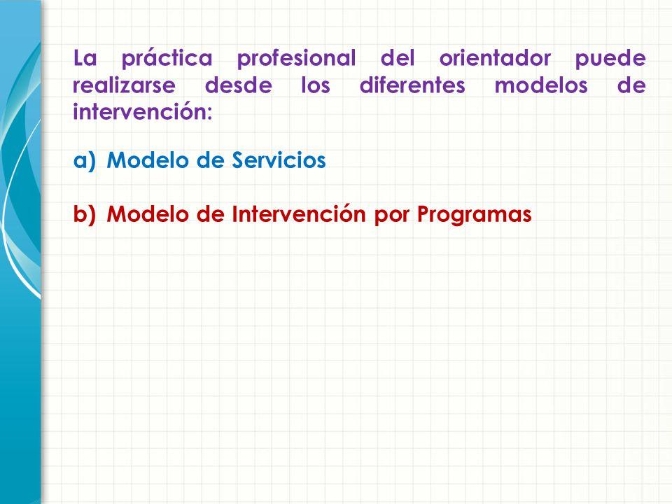 La práctica profesional del orientador puede realizarse desde los diferentes modelos de intervención: