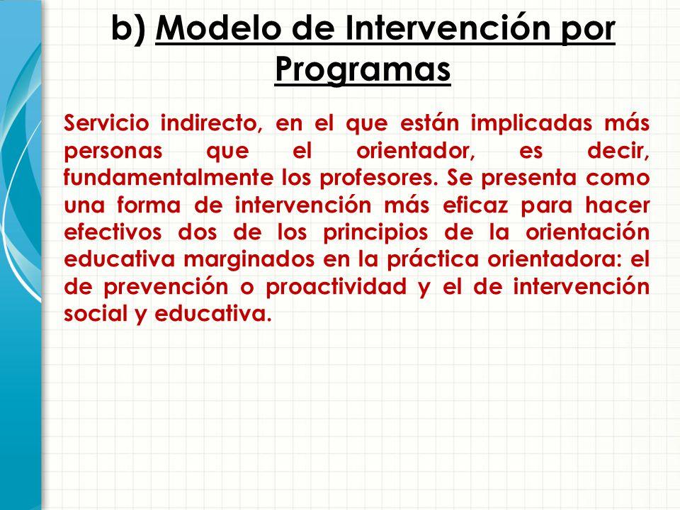 b) Modelo de Intervención por Programas