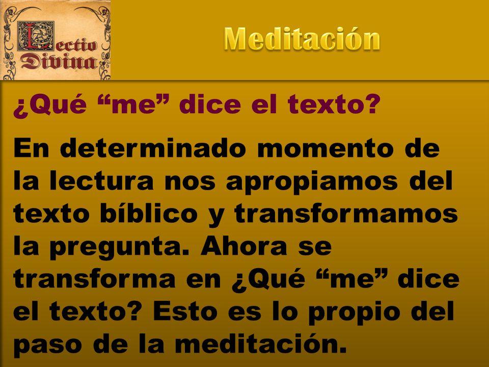 Meditación ¿Qué me dice el texto