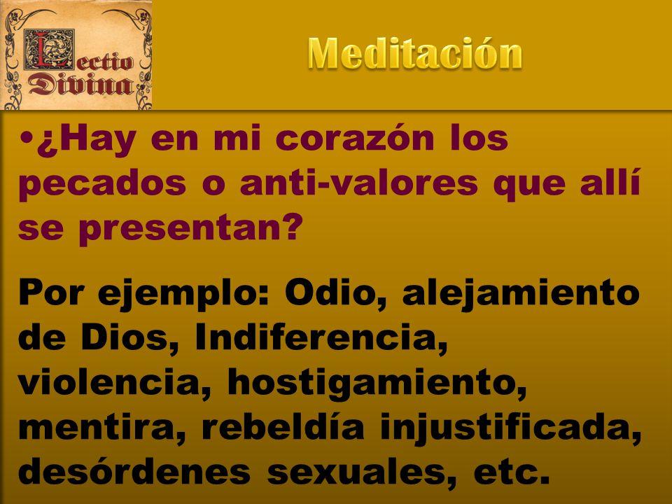 Meditación ¿Hay en mi corazón los pecados o anti-valores que allí se presentan