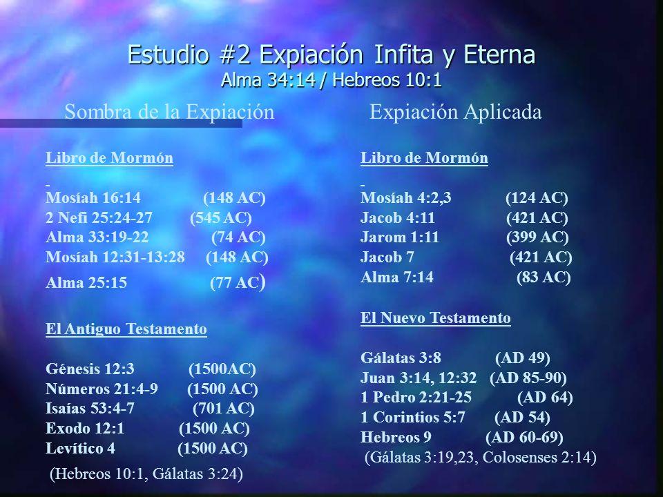 Estudio #2 Expiación Infita y Eterna Alma 34:14 / Hebreos 10:1