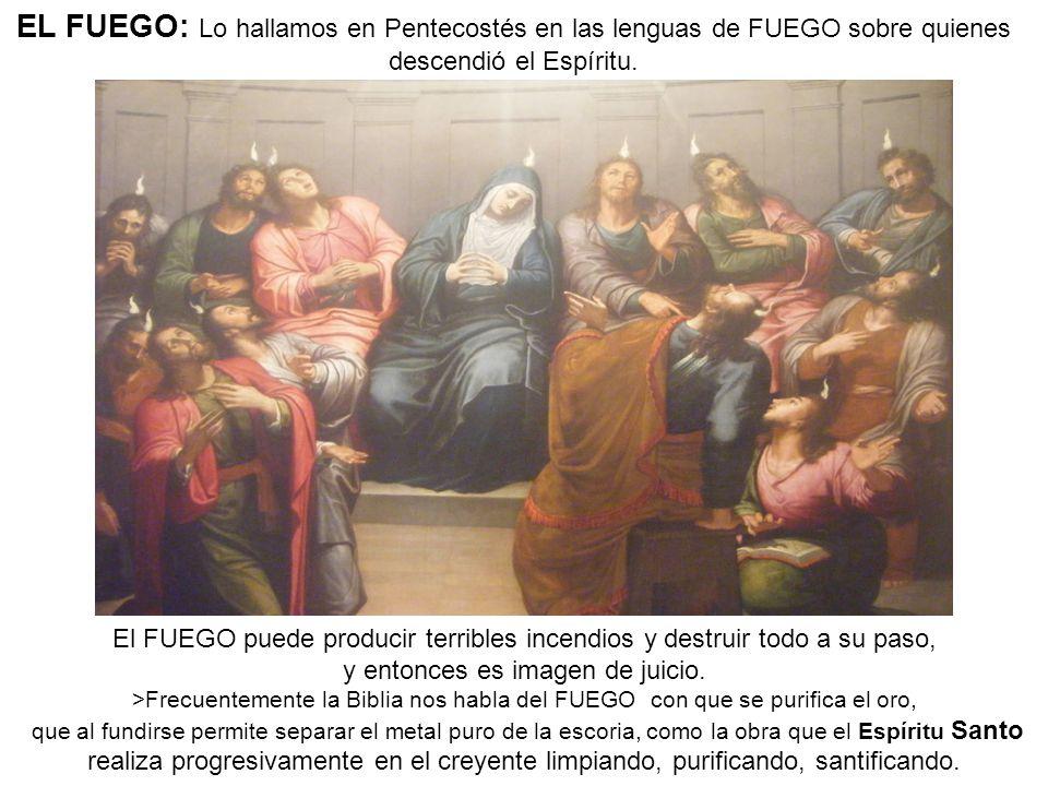 EL FUEGO: Lo hallamos en Pentecostés en las lenguas de FUEGO sobre quienes descendió el Espíritu.