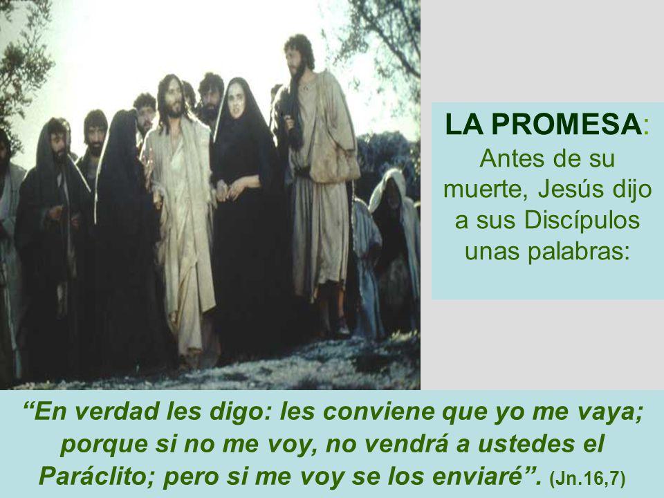 LA PROMESA: Antes de su muerte, Jesús dijo a sus Discípulos unas palabras: