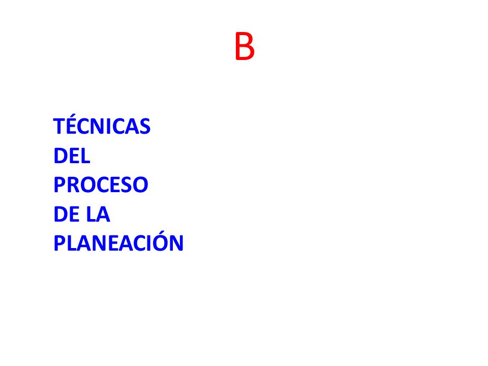 B TÉCNICAS DEL PROCESO DE LA PLANEACIÓN