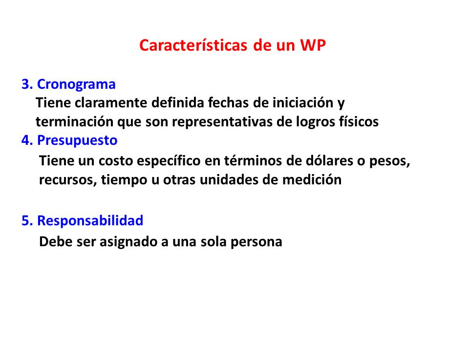 Características de un WP