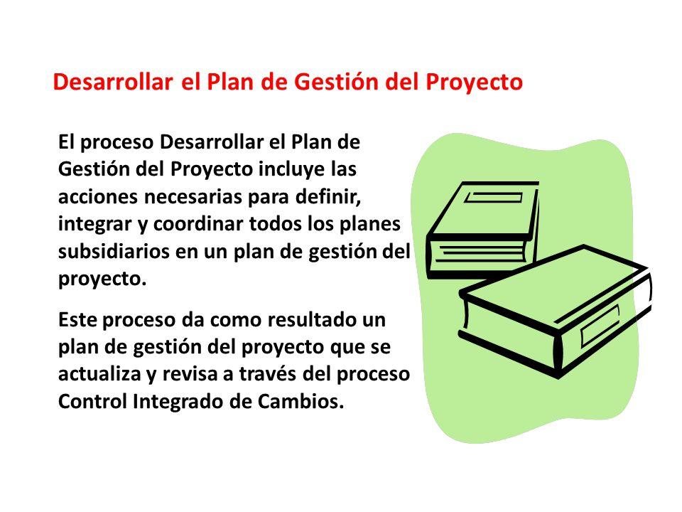 Desarrollar el Plan de Gestión del Proyecto