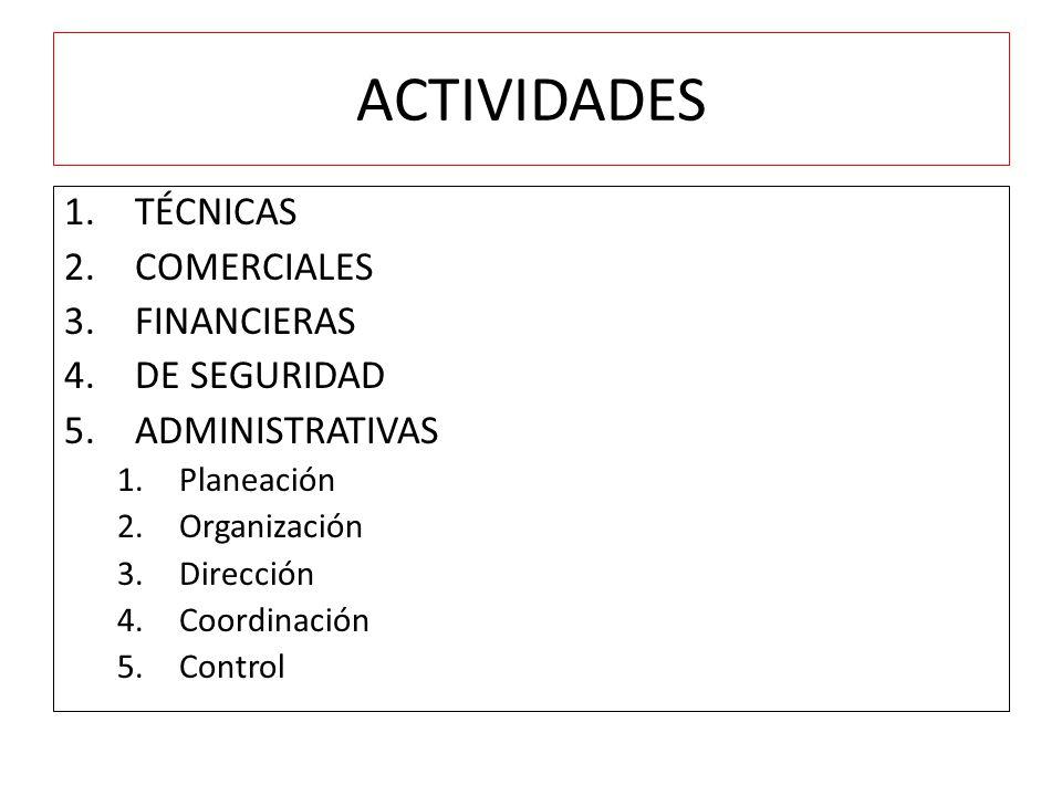 ACTIVIDADES TÉCNICAS COMERCIALES FINANCIERAS DE SEGURIDAD
