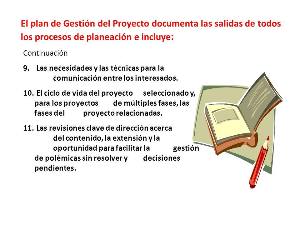 El plan de Gestión del Proyecto documenta las salidas de todos los procesos de planeación e incluye:
