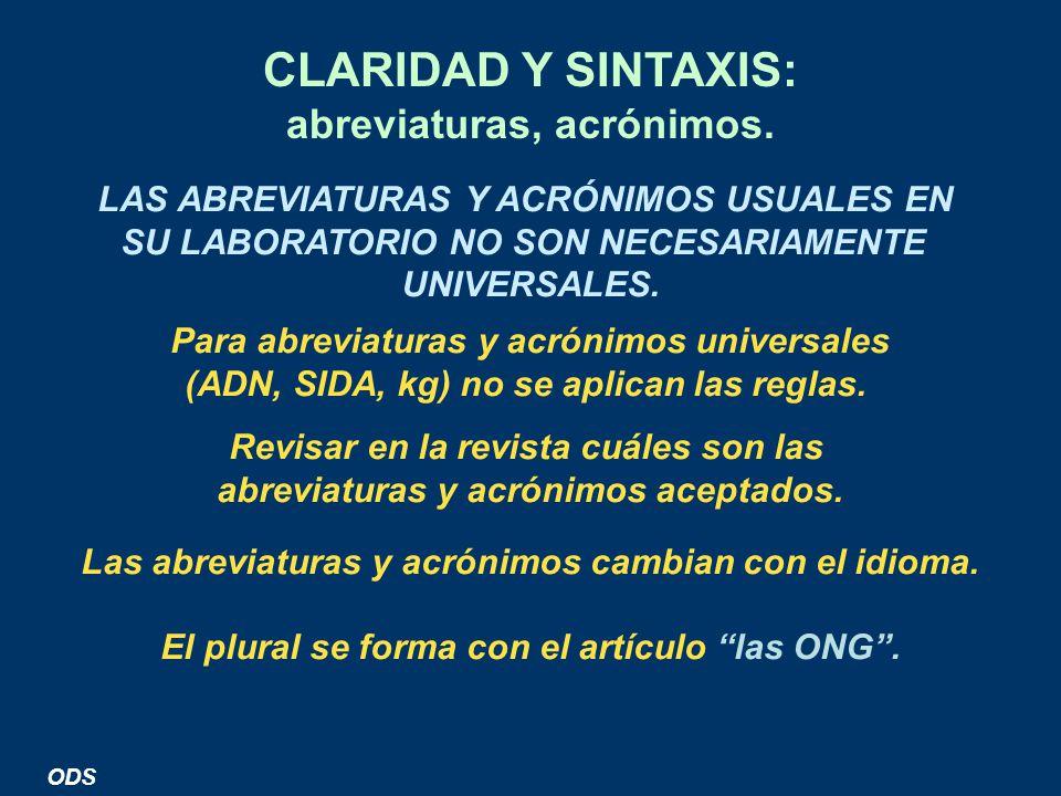 CLARIDAD Y SINTAXIS: abreviaturas, acrónimos.