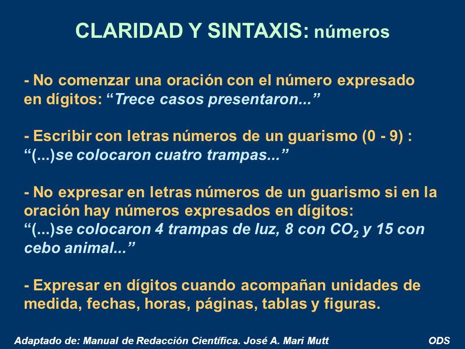 CLARIDAD Y SINTAXIS: números