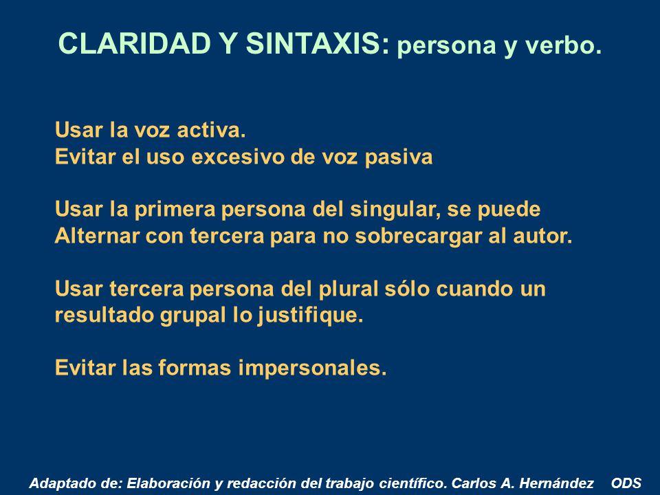 CLARIDAD Y SINTAXIS: persona y verbo.