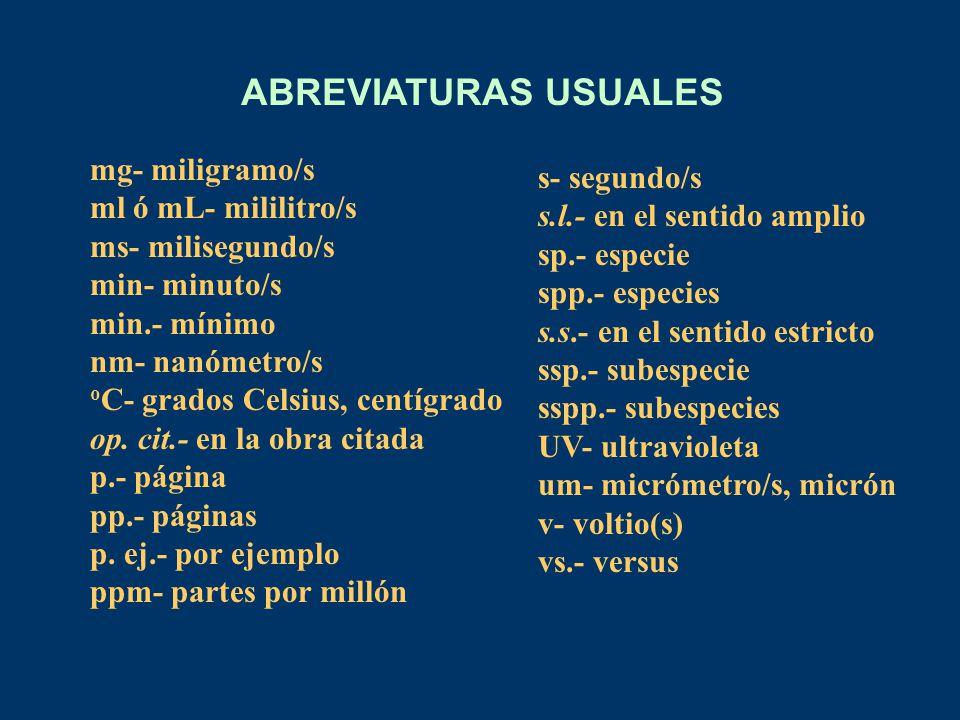 ABREVIATURAS USUALES mg- miligramo/s ml ó mL- mililitro/s s- segundo/s