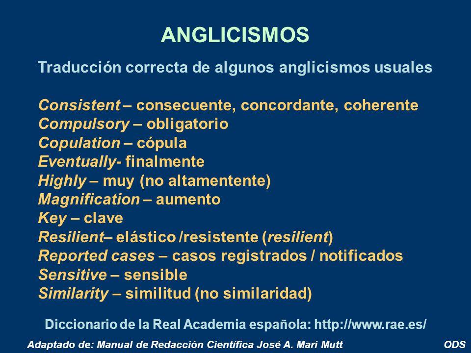 ANGLICISMOS Traducción correcta de algunos anglicismos usuales