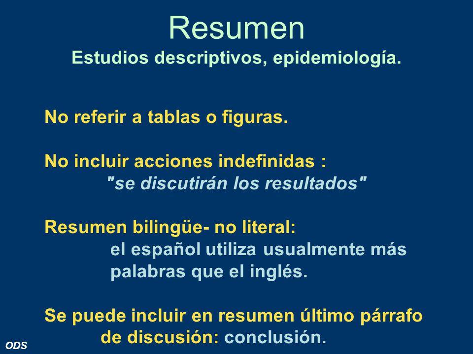 Resumen Estudios descriptivos, epidemiología.