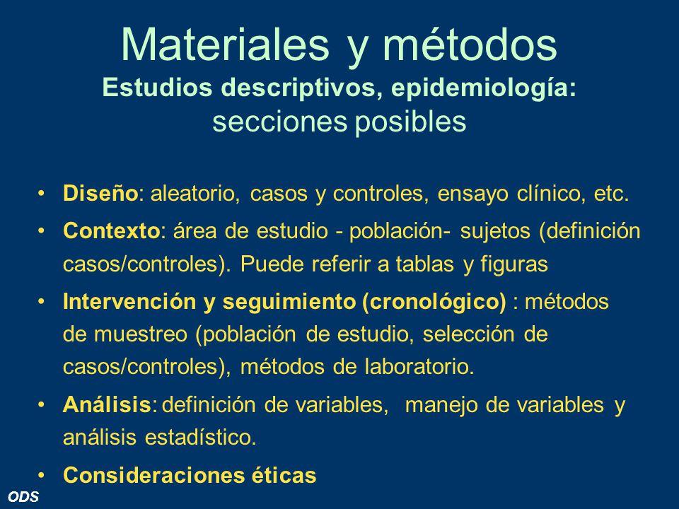 Materiales y métodos Estudios descriptivos, epidemiología: secciones posibles