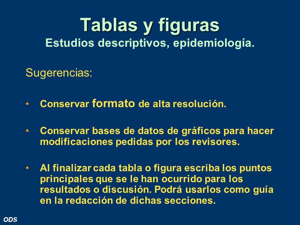 Tablas y figuras Estudios descriptivos, epidemiología.