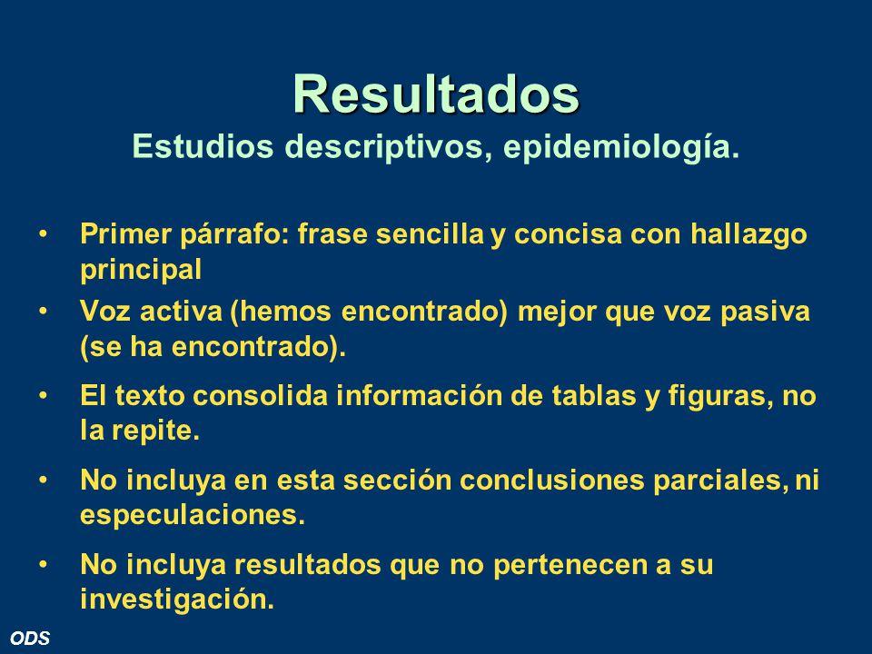 Resultados Estudios descriptivos, epidemiología.