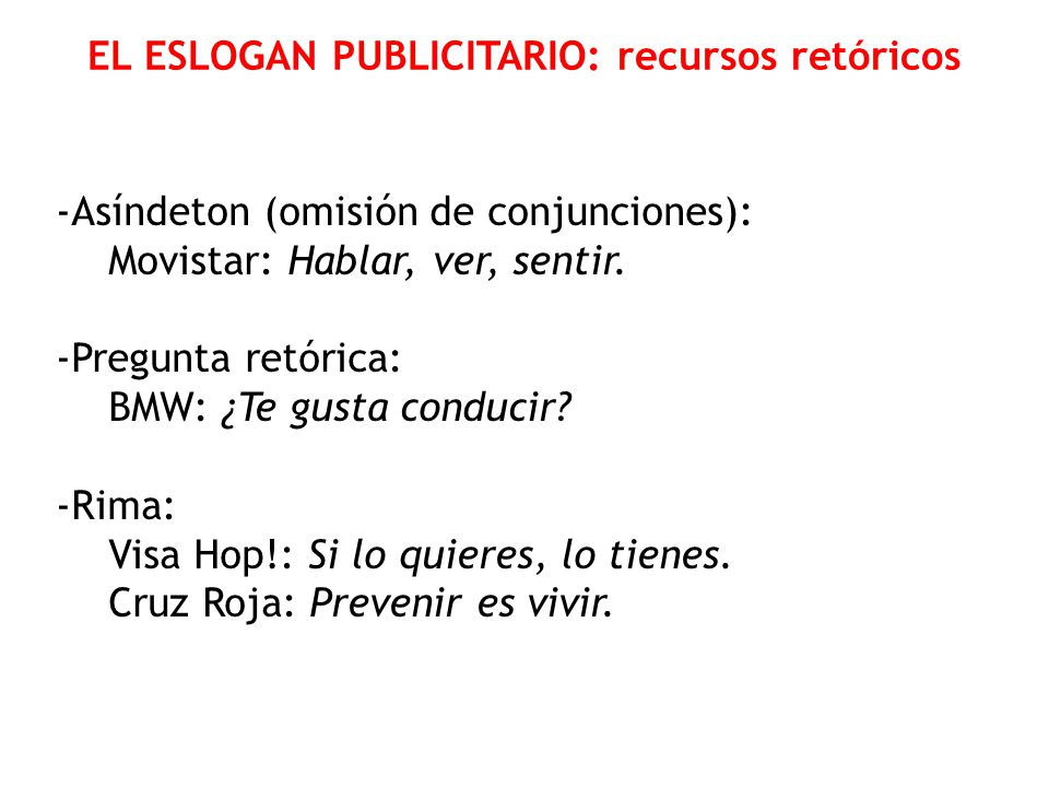 EL ESLOGAN PUBLICITARIO: recursos retóricos