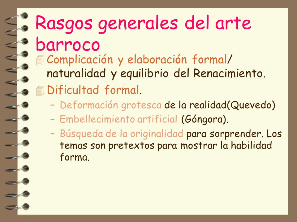 Rasgos generales del arte barroco