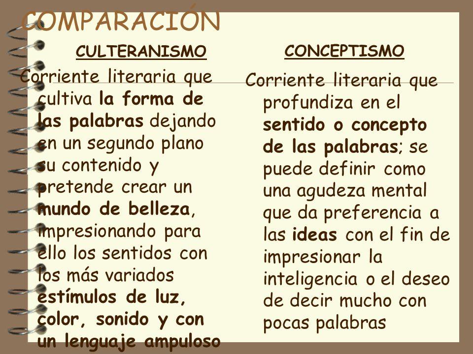 COMPARACIÓN CULTERANISMO. CONCEPTISMO.