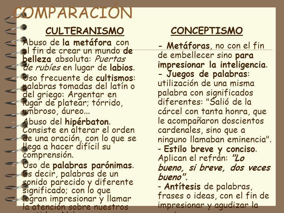 COMPARACIÓN CULTERANISMO CONCEPTISMO
