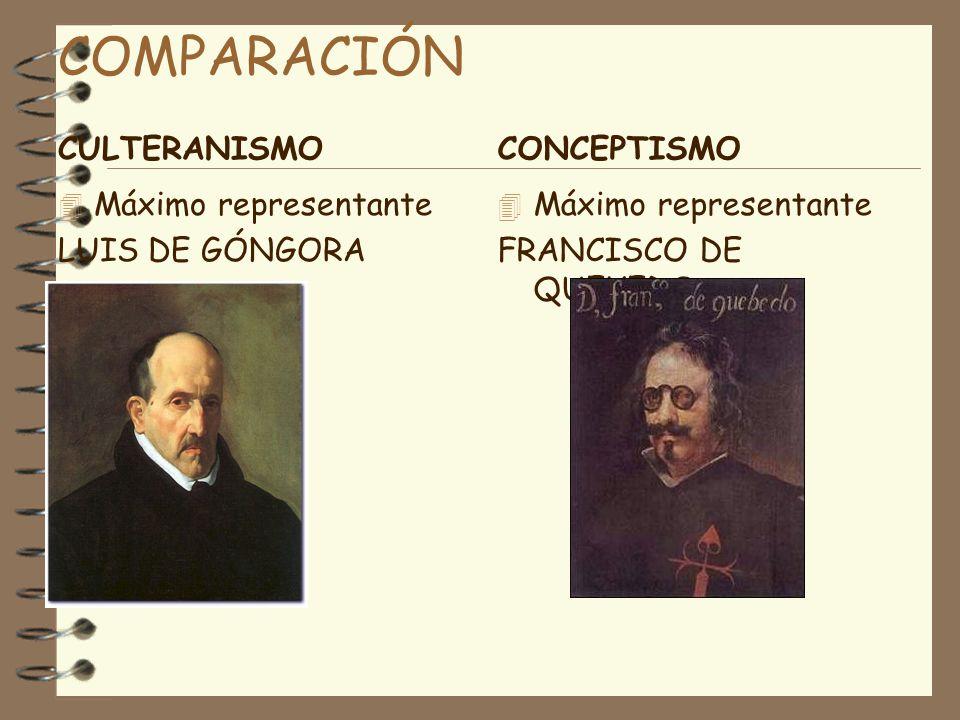 COMPARACIÓN CULTERANISMO CONCEPTISMO Máximo representante