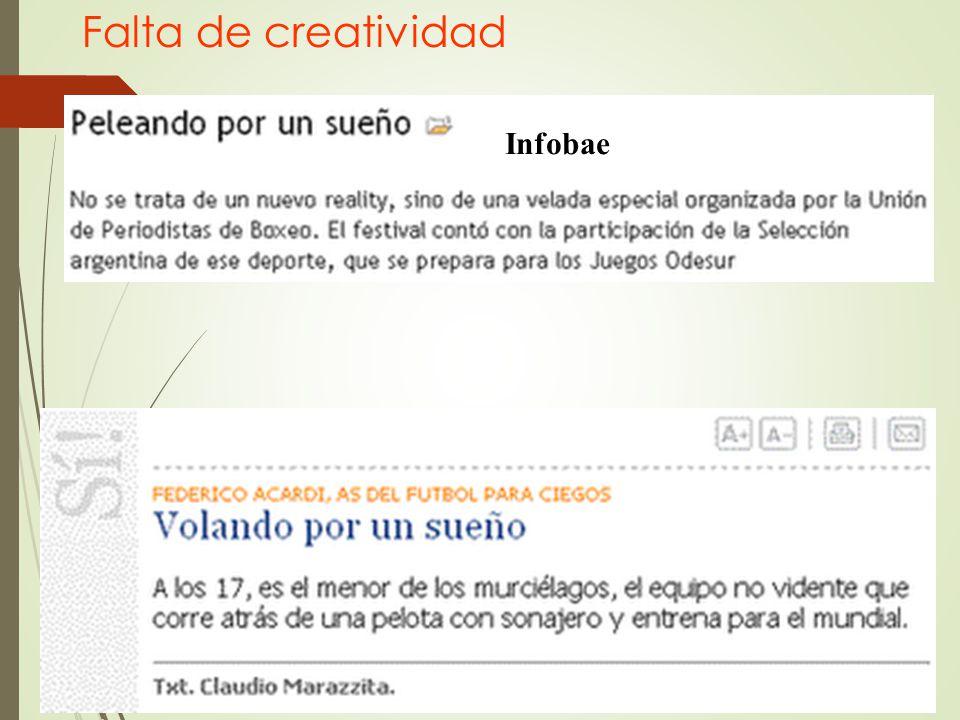 Falta de creatividad Infobae