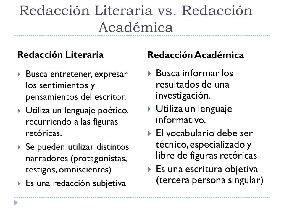 Redacción Literaria vs. Redacción Académica