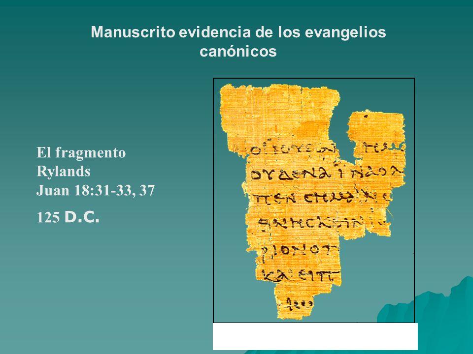 Manuscrito evidencia de los evangelios canónicos