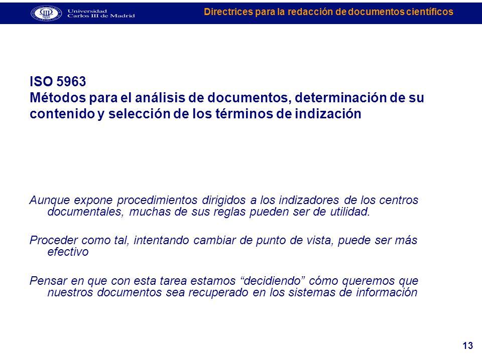 ISO 5963 Métodos para el análisis de documentos, determinación de su contenido y selección de los términos de indización