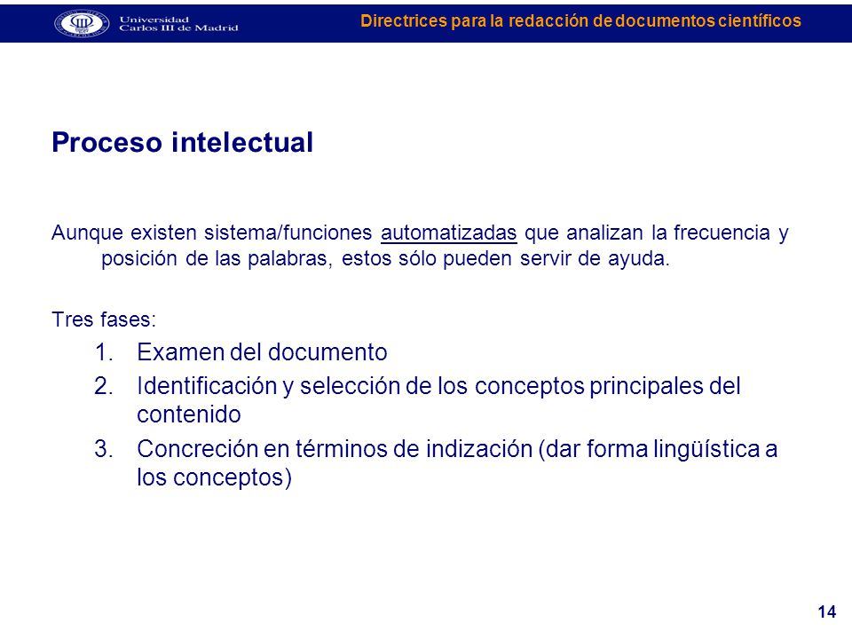 Proceso intelectual Examen del documento