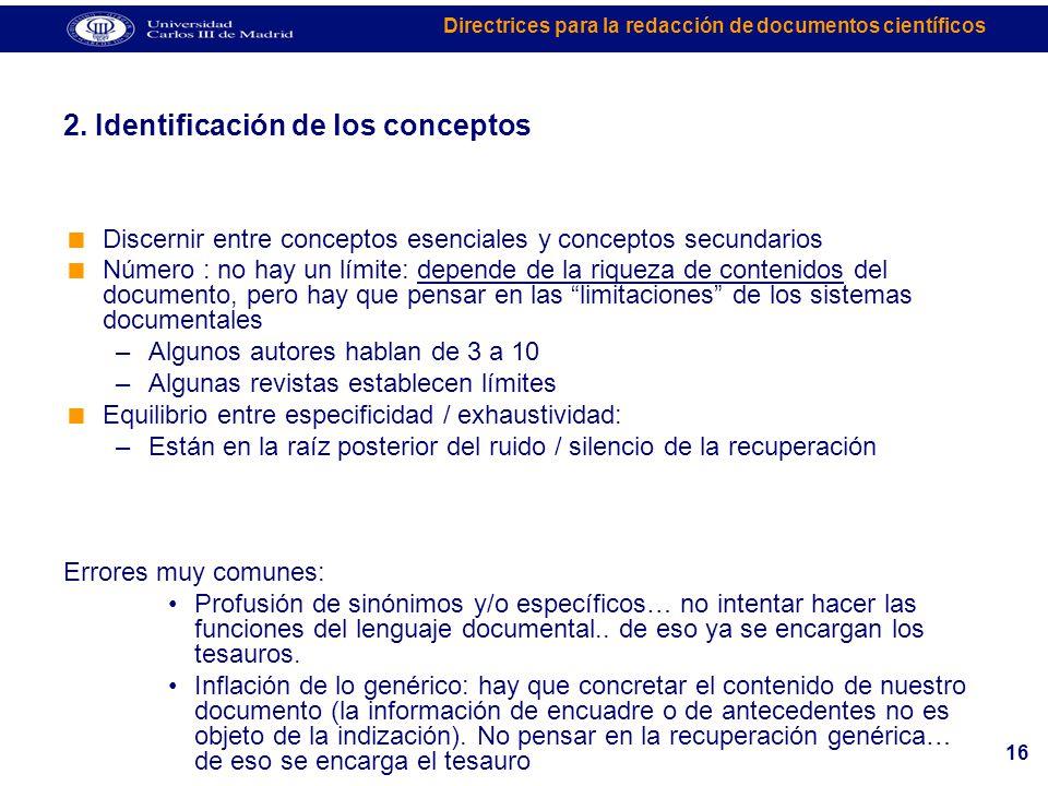 2. Identificación de los conceptos