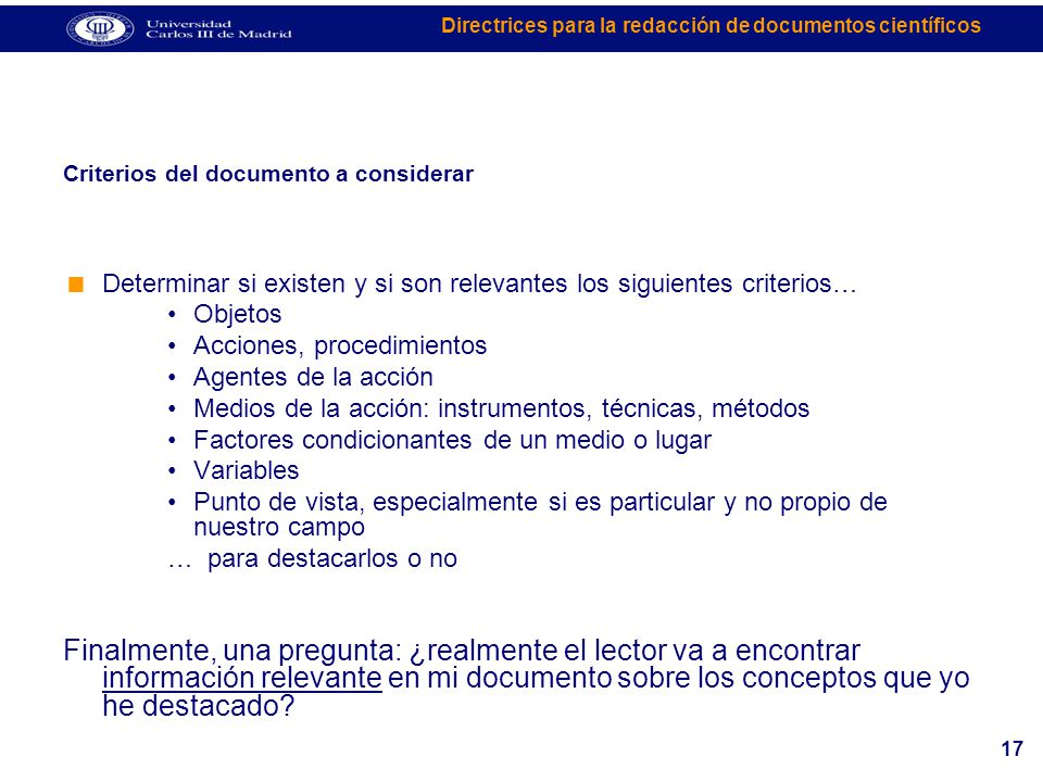 Criterios del documento a considerar