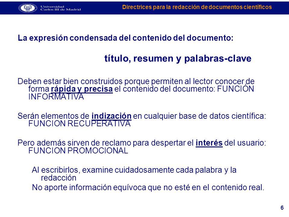 La expresión condensada del contenido del documento: