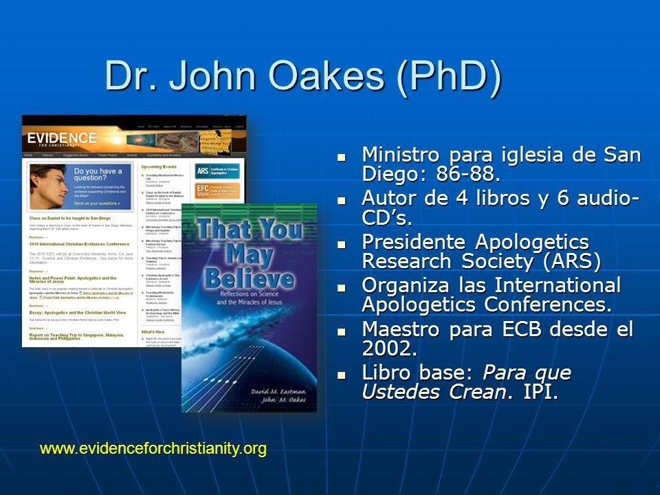 Dr. John Oakes (PhD) Ministro para iglesia de San Diego: 86-88.