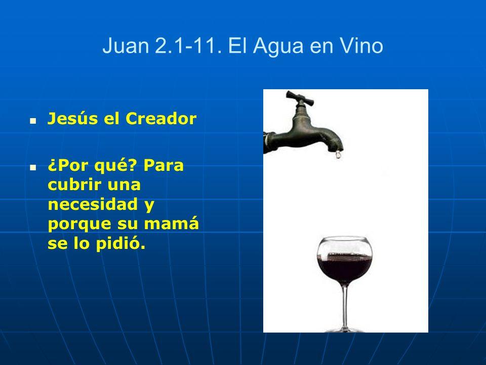 Juan 2.1-11. El Agua en Vino Jesús el Creador