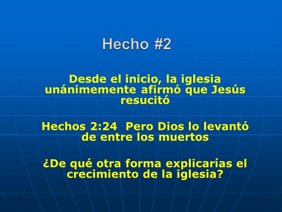 Hecho #2Desde el inicio, la iglesia unánimemente afirmó que Jesús resucitó. Hechos 2:24 Pero Dios lo levantó de entre los muertos.