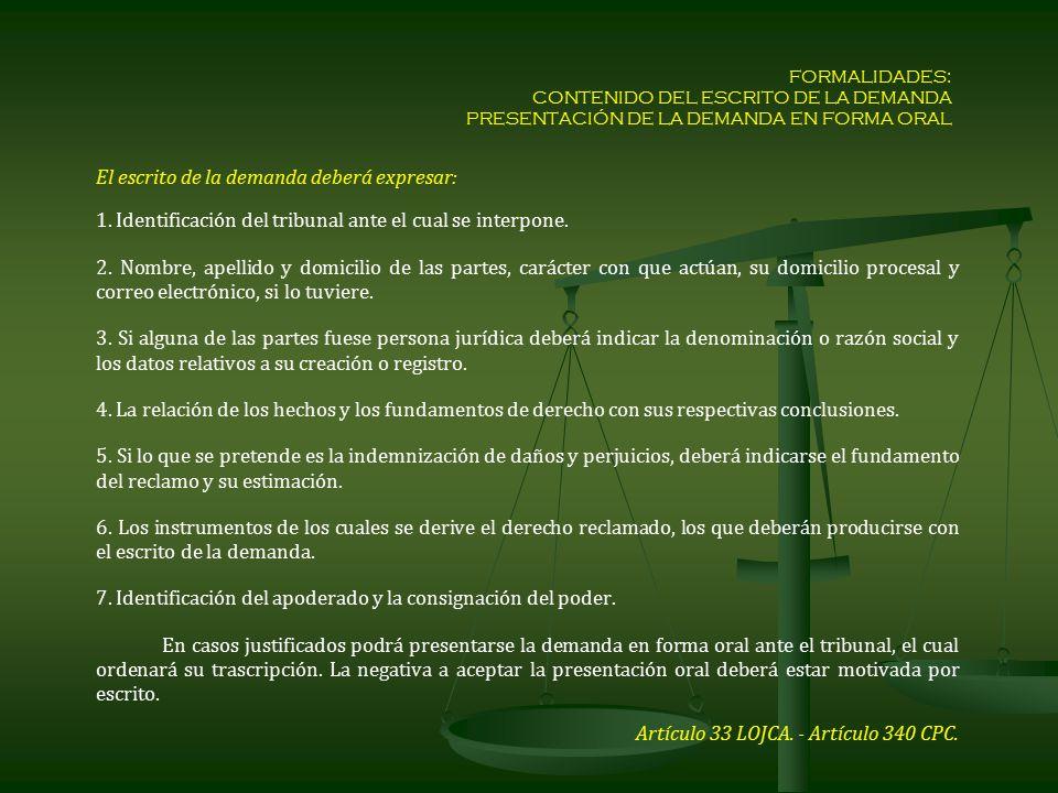1. Identificación del tribunal ante el cual se interpone.