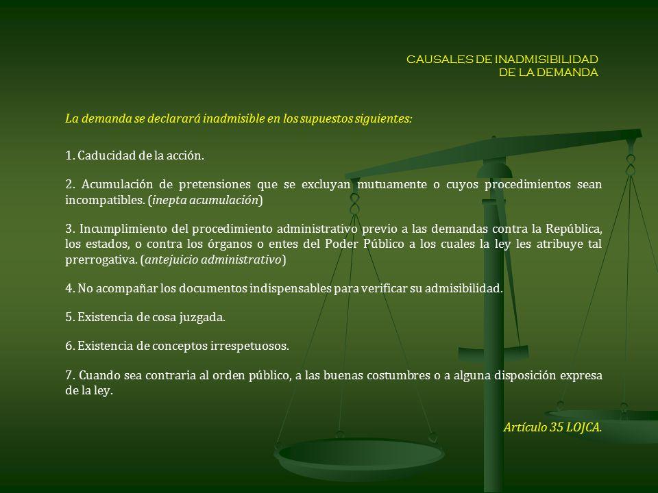CAUSALES DE INADMISIBILIDAD DE LA DEMANDA