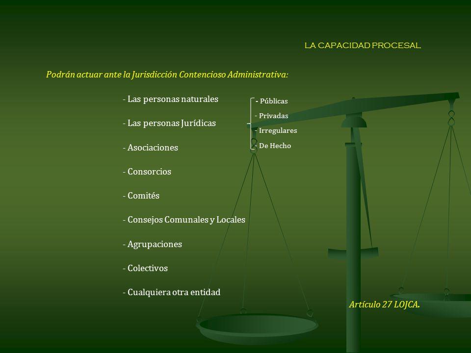 Podrán actuar ante la Jurisdicción Contencioso Administrativa: