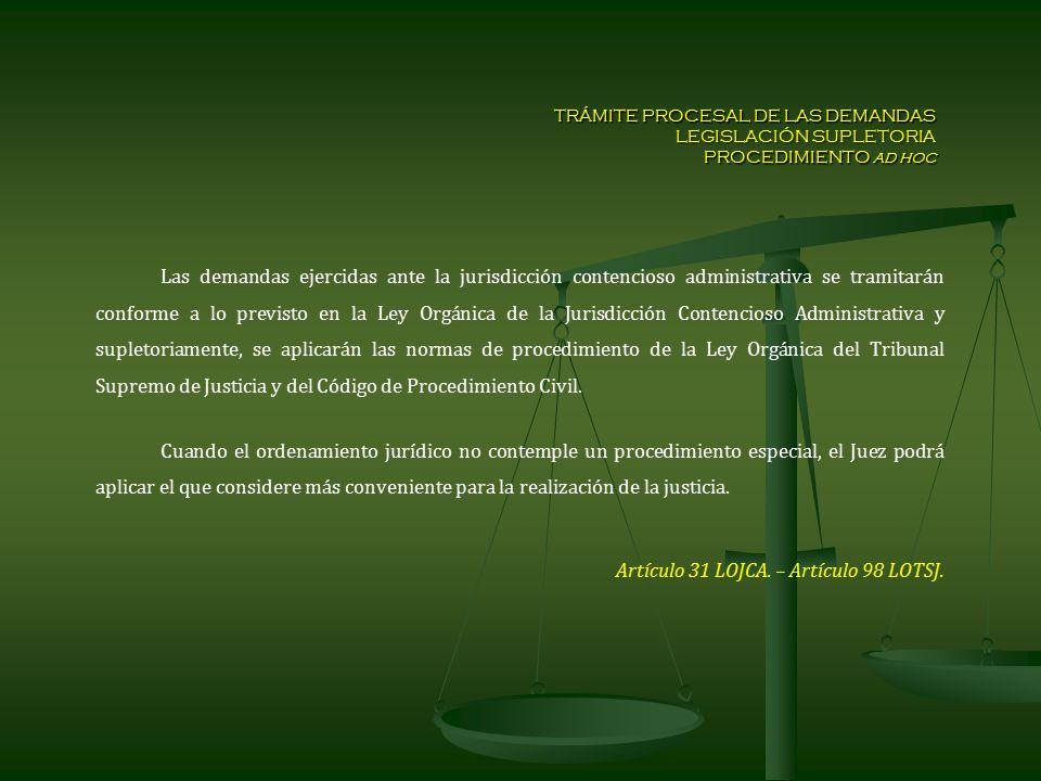 TRÁMITE PROCESAL DE LAS DEMANDAS LEGISLACIÓN SUPLETORIA PROCEDIMIENTO ad hoc