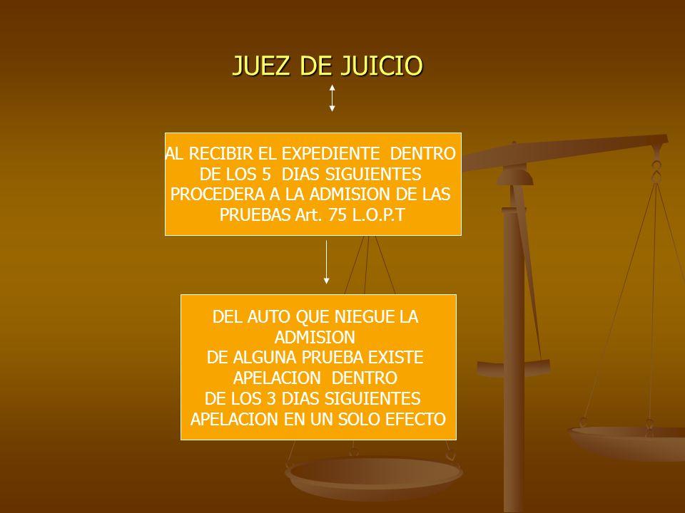 JUEZ DE JUICIO AL RECIBIR EL EXPEDIENTE DENTRO