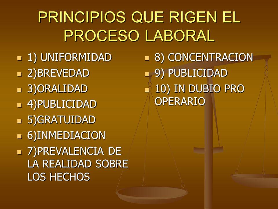 PRINCIPIOS QUE RIGEN EL PROCESO LABORAL