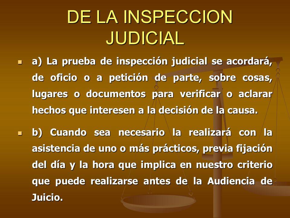 DE LA INSPECCION JUDICIAL