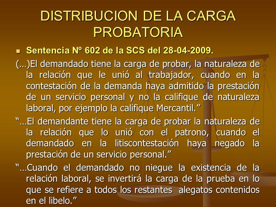 DISTRIBUCION DE LA CARGA PROBATORIA