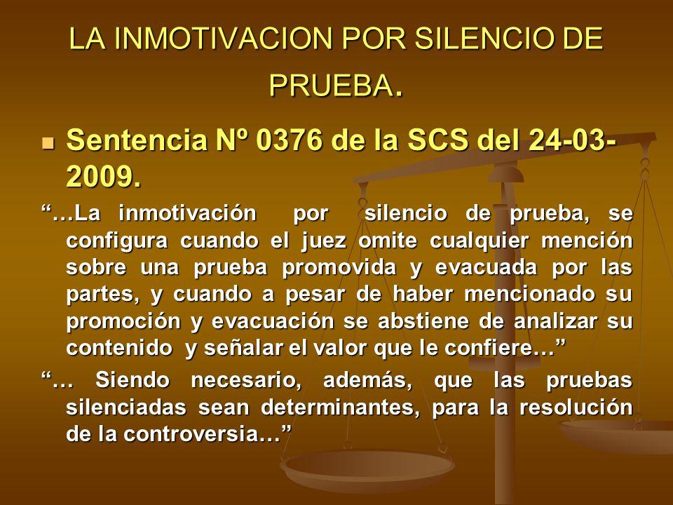 LA INMOTIVACION POR SILENCIO DE PRUEBA.