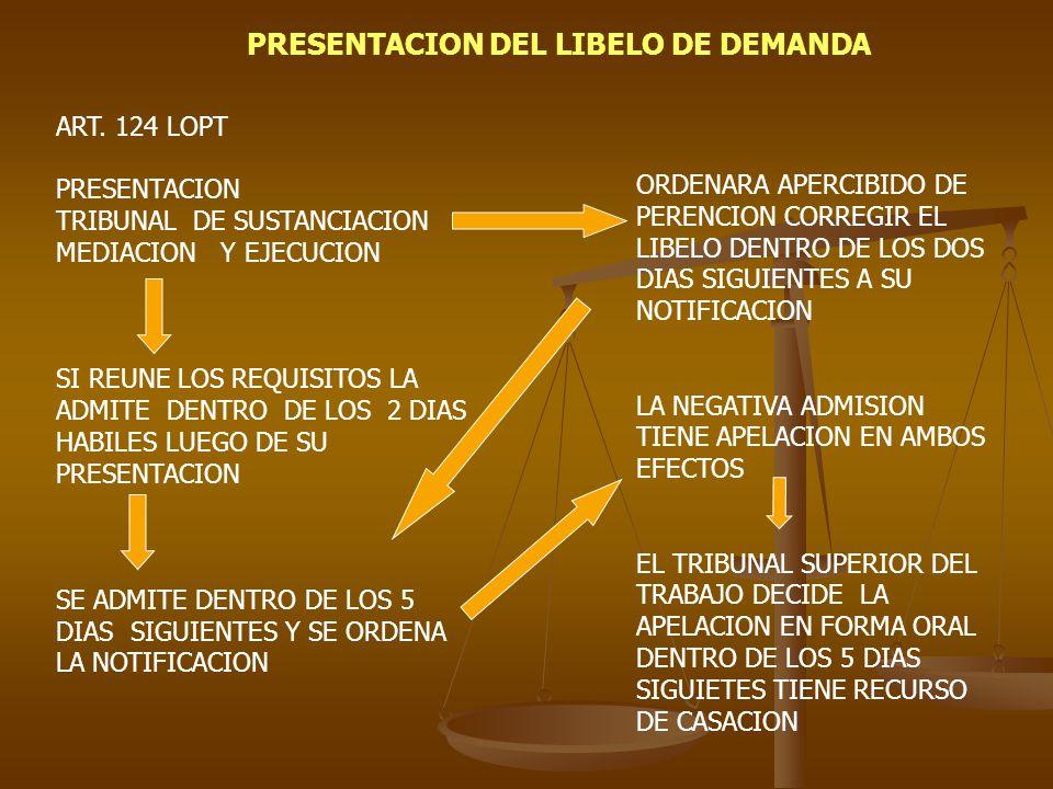 PRESENTACION DEL LIBELO DE DEMANDA